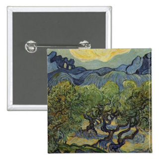 Vincent van Gogh - Landscape with Olive Trees 15 Cm Square Badge