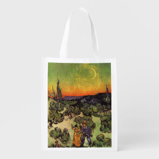 Vincent Van Gogh Moonlit Landscape Reusable Grocery Bags