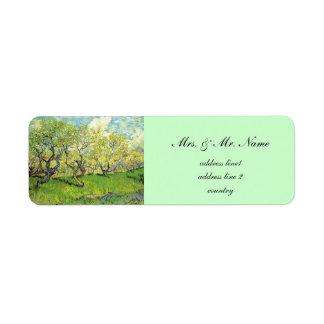 Vincent van Gogh,Orchard in Blossom Return Address Label