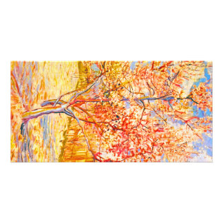 Vincent Van Gogh Peach Tree in Blossom Vintage Art Personalized Photo Card