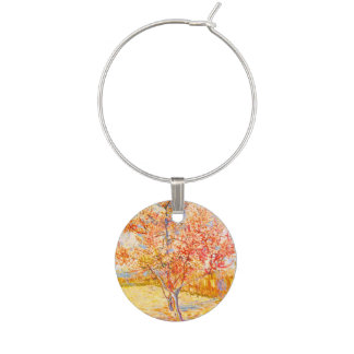 Vincent Van Gogh Peach Tree in Blossom Vintage Art Wine Charm