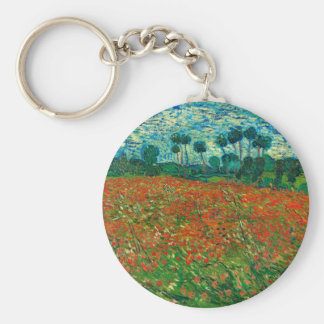Vincent Van Gogh Poppy Field Floral Vintage Art Key Ring