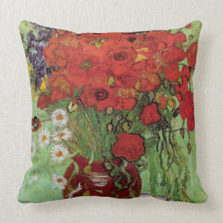 Vincent van Gogh-Red Poppies and Daisies Throw Pillow