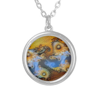 Vincent Van Gogh Seahorse Valley Mandelbrot Zoom Silver Plated Necklace