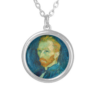 Vincent van Gogh Self Portrait 1889 Painting Silver Plated Necklace