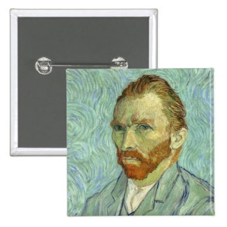 Vincent Van Gogh Self Portrait Fine Art Painting 15 Cm Square Badge