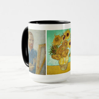 Vincent Van Gogh - Self-Portrait & Sunflowers Mug