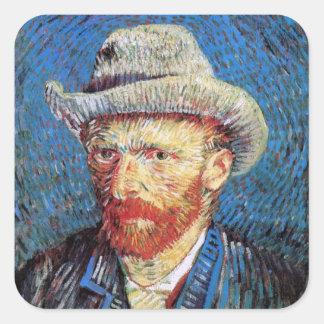 Vincent Van Gogh Self Portrait With Grey Felt Hat Square Sticker