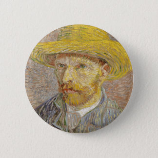 Vincent Van Gogh Self Portrait with Straw Hat Art 6 Cm Round Badge