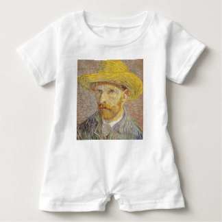 Vincent Van Gogh Self Portrait with Straw Hat Art Baby Bodysuit