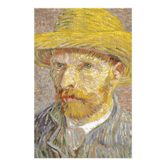 Vincent Van Gogh Self Portrait with Straw Hat Art Customised Stationery