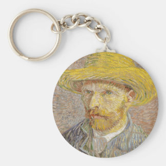 Vincent Van Gogh Self Portrait with Straw Hat Art Key Ring