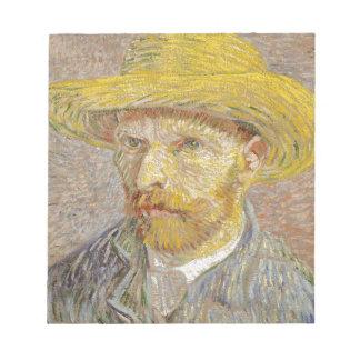Vincent Van Gogh Self Portrait with Straw Hat Art Notepad