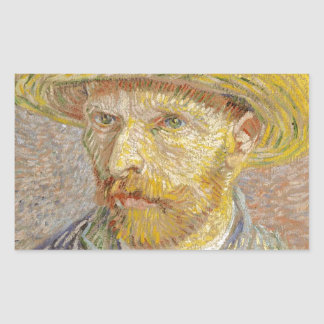 Vincent Van Gogh Self Portrait with Straw Hat Art Rectangular Sticker
