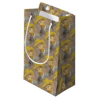 Vincent Van Gogh Self Portrait with Straw Hat Art Small Gift Bag