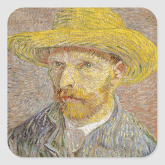 Vincent Van Gogh Self Portrait with Straw Hat Art Square Sticker