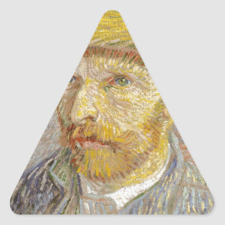 Vincent Van Gogh Self Portrait with Straw Hat Art Triangle Sticker