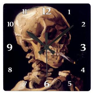 Vincent Van Gogh Skull with burning Cigarette Clocks