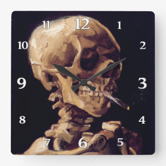 Vincent Van Gogh Skull with burning Cigarette Square Wall Clock