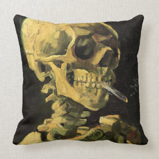 Vincent van Gogh-Skull with Burning Cigarette Throw Pillow