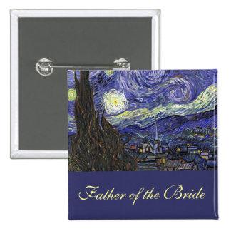 Vincent van Gogh, Starry Night 15 Cm Square Badge