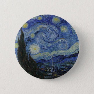 Vincent Van Gogh - Starry Night. Art Painting 6 Cm Round Badge