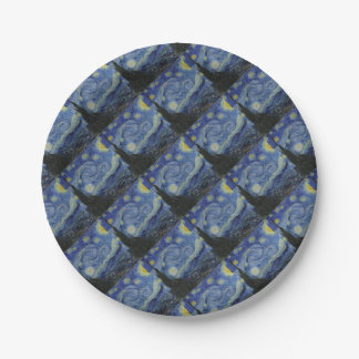 Vincent Van Gogh - Starry Night. Art Painting 7 Inch Paper Plate