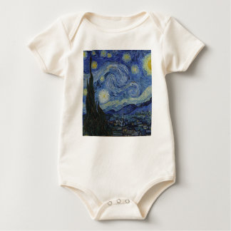 Vincent Van Gogh - Starry Night. Art Painting Baby Bodysuit