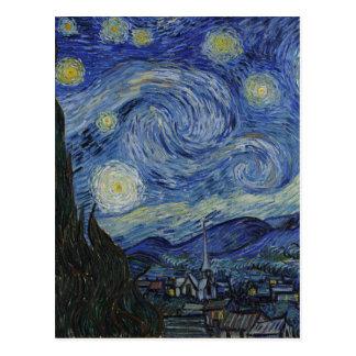 Vincent Van Gogh - Starry Night. Art Painting Postcard