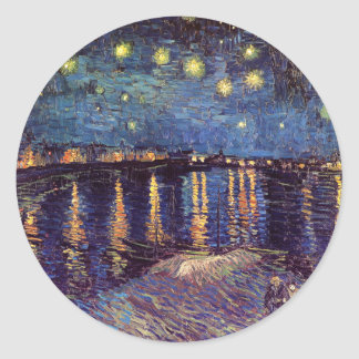 Vincent Van Gogh - Starry Night on Rhone Round Sticker