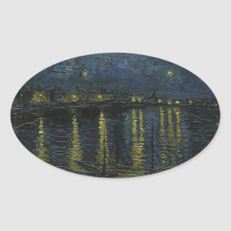 Vincent Van Gogh Starry Night Over the Rhone Art Oval Sticker