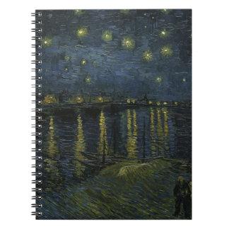 Vincent Van Gogh Starry Night Over the Rhone Art Spiral Notebook