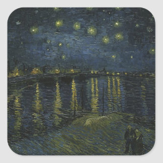 Vincent Van Gogh Starry Night Over the Rhone Art Square Sticker