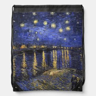 Vincent Van Gogh Starry Night Over The Rhone Drawstring Bag