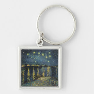 Vincent van Gogh | Starry Night Over the Rhone Silver-Colored Square Key Ring