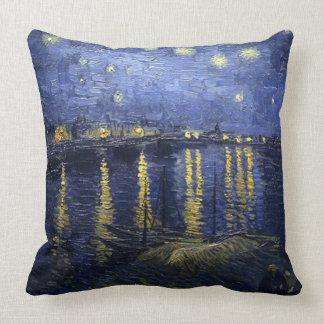 Vincent van Gogh-Starry Night over the Rhone Throw Pillow