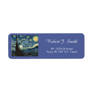 Vincent van Gogh, Starry Night Return Address Label