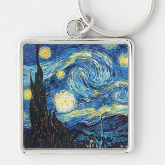 Vincent Van Gogh - Starry Night Silver-Colored Square Key Ring