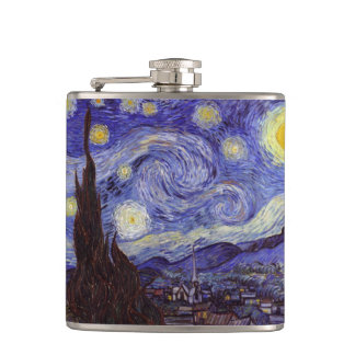 Vincent Van Gogh Starry Night Vintage Fine Art Hip Flask