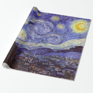 Vincent Van Gogh Starry Night Vintage Fine Art Wrapping Paper