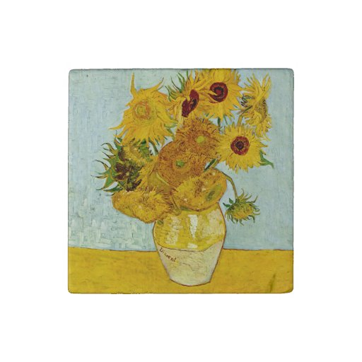 Vincent Van Gogh Sunflower Painting Stone Magnet