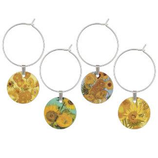 Vincent van Gogh Sunflower Paintings Wine Charm