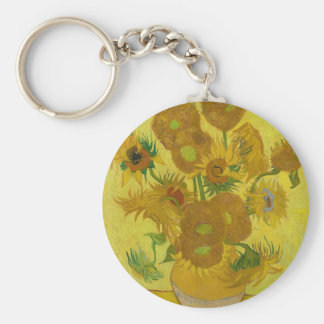 Vincent Van Gogh Sunflowers - Classic Art Floral Key Ring