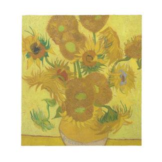 Vincent Van Gogh Sunflowers - Classic Art Floral Notepad