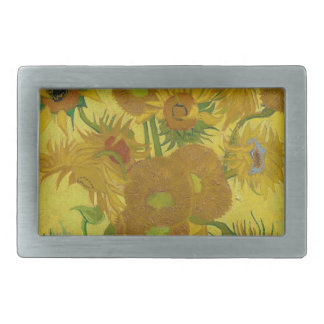 Vincent Van Gogh Sunflowers - Classic Art Floral Rectangular Belt Buckles