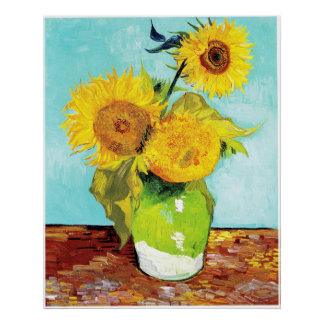 Vincent van Gogh Sunflowers Vase First Turquoise Poster