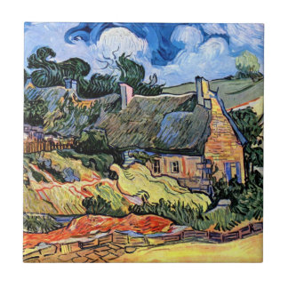 Vincent Van Gogh - Thatched Cottages At Cordeville Ceramic Tile