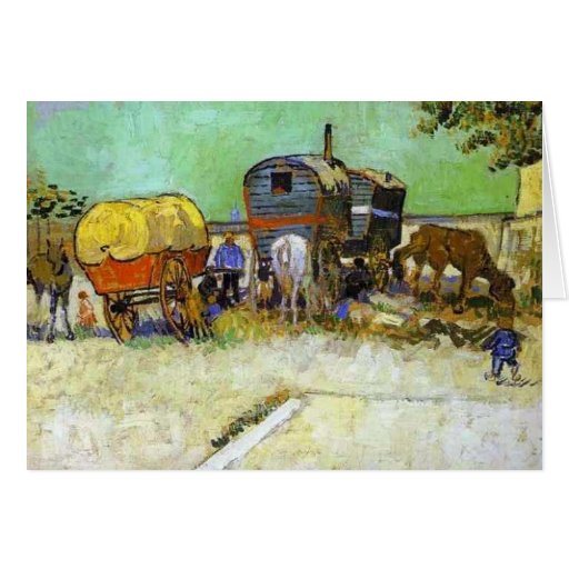 vincent van gogh- the caravans - gypsy camp near a greeting card