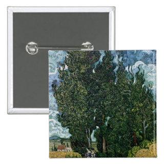 Vincent van Gogh | The cypresses, c.1889-90 15 Cm Square Badge