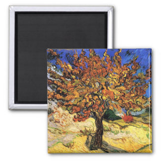 Vincent Van Gogh - The Mulberry Tree Fine Art Square Magnet